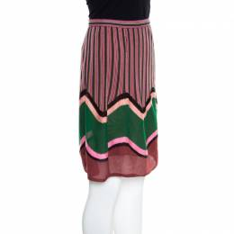 M Missoni Multicolor Stripe and Wave Patterned Knit A Line Skirt S 166884