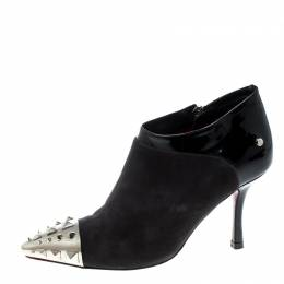 Cesare Paciotti Black Suede and Leather Studded Cap Toe Ankle Boots Size 35.5 166869