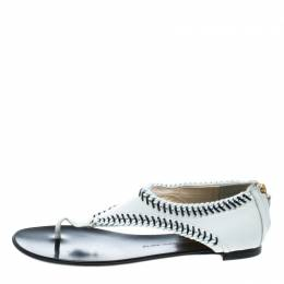 Giuseppe Zanotti Design White Leather Chain Trim Flat Thong Sandals Size 42 167435