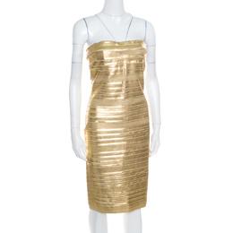 Blumarine Metallic Gold Foil Printed Textured Strapless Bodycon Dress M 169212