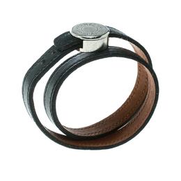 Hermes Black Looping Interchangeable Leather Palladium Plated Bracelet 169342