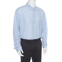 Ermenegildo Zegna Light Blue Striped Cotton Linen Button Down Shirt 3XL 168935