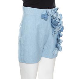 Ermanno Scervino Sky Blue Cotton Linen Flower Applique Detail High Waist Shorts S 170347