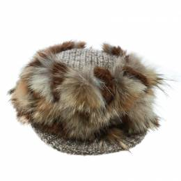 Missoni Brown Coyote and Rabbit Fur Newsboy Cap Size M 170406