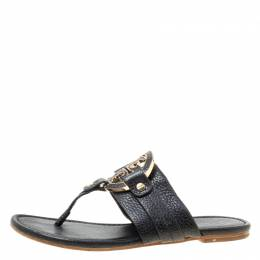 Tory Burch Black Leather Flat Thong Sandals Size 35.5 174309
