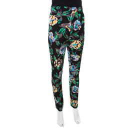 Diane Von Furstenberg Black Floral Printed Benton High Waist Skinny Pants S 172554