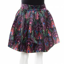 Alice + Olivia Ombre Deco Printed Pleated A Line Stora Skirt XS 174701