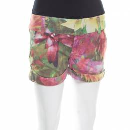 Alice + Olivia Multicolor Flower Printed Cotton Stretch Cuffed Hem Shorts XS 174057