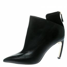 Nicholas Kirkwood Black Leather Mira Faux Pearl Embellished Pointed Toe Ankle Boots Size 42 174975
