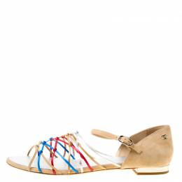 Chanel Multicolor Leather and Suede Knot Detail Flat Sandals Size 41 175748