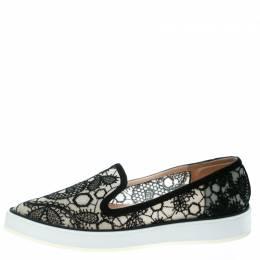 Nicholas Kirkwood Black Lace Alona Pointed Toe Platform Loafers Size 36 177153