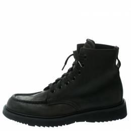 Prada Black Leather High Top Combat Boots Size 41.5 177986