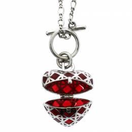Dior Secret Heart Enamel Cannage Silver Tone Toggle Pendant Necklace 178293