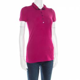Burberry Brit Magenta Pink Cotton House Check Collar Polo T-Shirt XS 179994