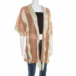 M Missoni Burnt Orange Chevron Pattern Knit Ruffled Cardigan L