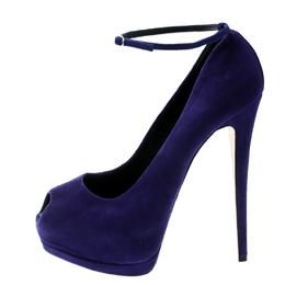 Giuseppe Zanotti Design Blue Suede Ankle Strap Peep Toe Platform Pumps Size 40 181281