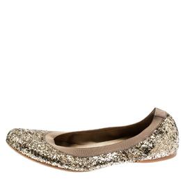 Stuart Weitzman Metallic Gold Glitter Lastikon Scrunch Ballet Flats Size 38.5 182137
