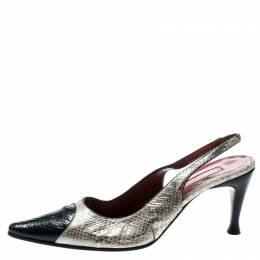 Sergio Rossi Beige/Black Pearl Finish Python Slingback Pointed Toe Sandals Size 39 182064