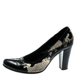 Loriblu Black/Beige Python Leather And Suede Trim Block Heel Pumps Size 40 182523