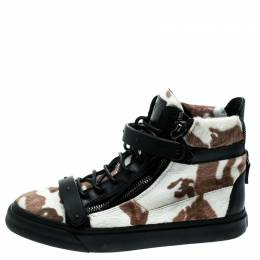 Giuseppe Zanotti Design Tricolor Calf Hair And Leather Trim Camouflage High Top Sneakers Size 39.5 182259
