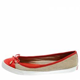 Tory Burch Beige Quilted Canvas And Orange Patent Leather Schuyler Ballet Flats Size 39.5 182488