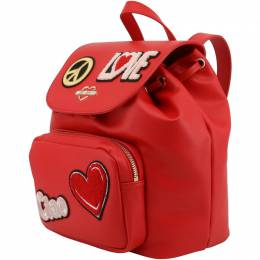 Love Moschino Red Faux Leather Embellished Drawstring Backpack