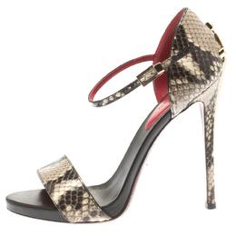 Cesare Paciotti Two Tone Python Ankle Strap Open Toe Sandals Size 36.5 183956