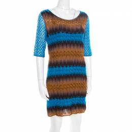 Missoni Blue and Brown Perforated Knit Short Sleeve Dress M 185356