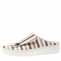 Sergio Rossi Multicolor Canvas Backless Slip On Sneakers Size 39 185653