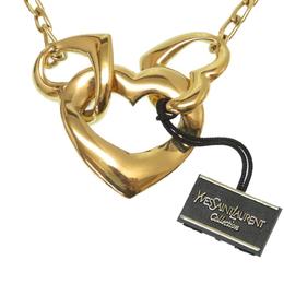 Saint Laurent Paris Vintage Gold Tone Triple Heart Pendant Necklace 177213