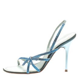 Rene Caovilla Blue Crystal Embellished Satin Open Toe Slingback Sandals Size 38 185876