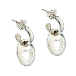 Tiffany & Co. Stencil Heart Drop Sterling Silver Earrings