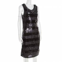 Roberto Cavalli Class Black and Grey Striped Embellished Sleeveless Dress M 186713