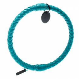Bottega Veneta Blue Intrecciato Woven Leather Bangle Bracelet M 185945