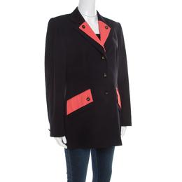 Escada Black Wool Contrast Faux Layered Lapel Logo Button Detail Blazer L 193132