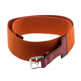 Hermes Orange Nylon and Leather Belt Size 90 CM 182939