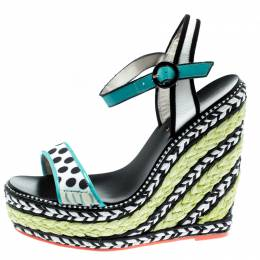 Sophia Webster Multicolor Polka Dot Canvas And Leather Lucita Espadrille Wedges Sandals Size 36.5 192600