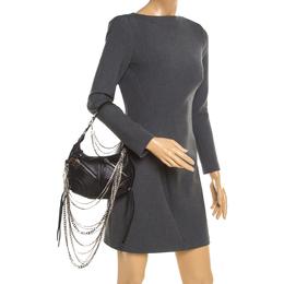 Sonia Rykiel Black Leather Multichain Embellished Small Shoulder Bag 192786