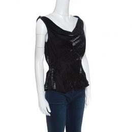 Dior Metallic Black Sleeveless Draped Top S 154869