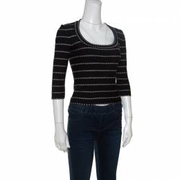 Alaia Monochrome Embossed Jacquard Knit Long Sleeve Top M 151019