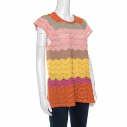 M Missoni Multicolor Perforated Lurex Knit Chevron Pattern Cap Sleeve Top L 149719