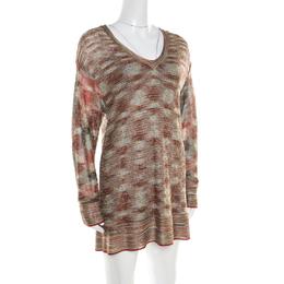 Missoni Multicolor Lurex Knit Long Sleeve Tunic Dress M 194053
