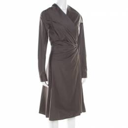 Max Mara Grey Cotton Stretch Faux Wrap Draped Blazer Dress M 194002