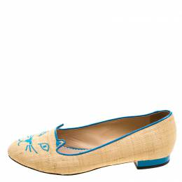 Charlotte Olympia Beige and Blue Raffia Kitty Flats Size 37 120695