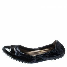 Tod's Metallic Blue Suede And Black Patent Leather Cap Toe Buckle Detail Ballet Flats Size 35.5 194346