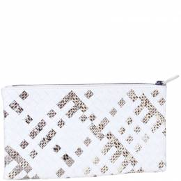 Bottega Veneta Cream Snake Printed Woven Leather Clutch Bag 188426