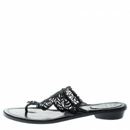 Rene Caovilla Black Crystal Embellished Lace And Leather Flat Thong Sandals Size 39 194877