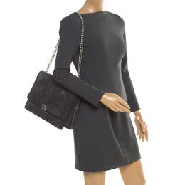 Celine Grey Suede and Leather Large Case Chain Flap Shoulder Bag 194898