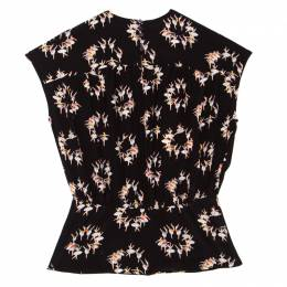Rochas Black Ballerina Printed Silk Blouson Top M 158275