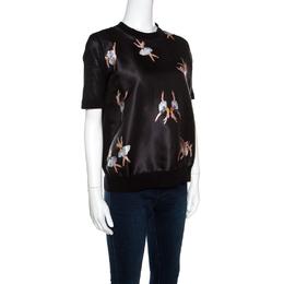 Rochas Black Ballerina Printed Satin and Knit Short Sleeve Top L 158484